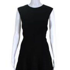 Lela Rose Black Seamed Sleeveless Dress Silk 12
